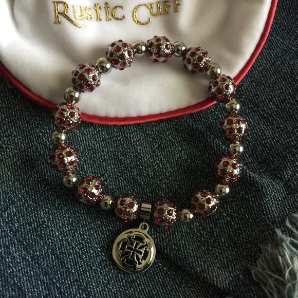 Rustic Cuff 🆕 Rustic Cuff Ruby Red Silver Bead Bracelet