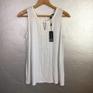 Cable & Gauge Tops - Cable & gauge White Crochet Front Top