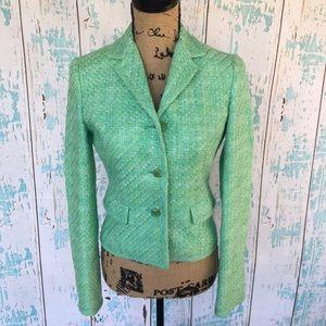Elie Tahari green tweed blazer jacket size 2