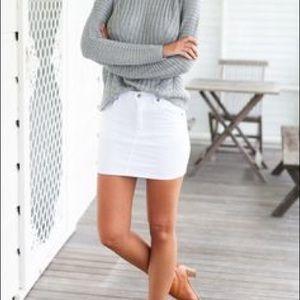Dresses & Skirts - White denim skirt sabo skirt