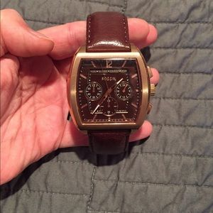 Fossil men's leather & rose gold watch