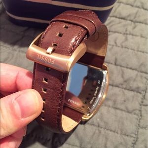 Fossil Accessories - Fossil men's leather & rose gold watch