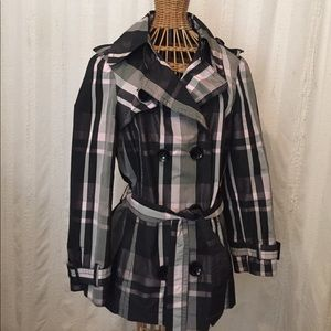 Tuzzi Nero Jackets & Blazers - Black and pink plaid short trench