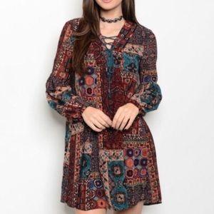 Love Riche Dresses & Skirts - Long-sleeve boho lace-up dress