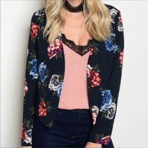 Light weight navy blazer with floral pattern