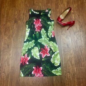AGB Dresses & Skirts - Black & multi floral palm print shift dress