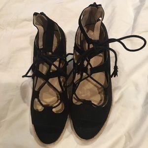Oasis Shoes - Never Worn Black Wedged Espadrilles