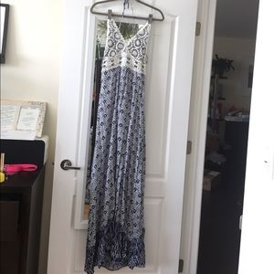 Dresses & Skirts - Boho blue/white maxi dress crochet top low back