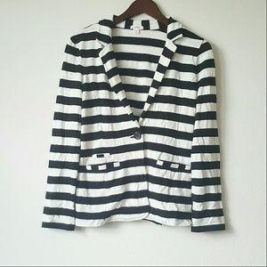 Caslon Jackets & Blazers - Black and white striped soft blazer