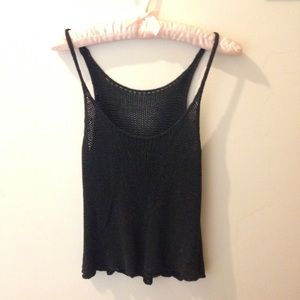 Urban Outfitters Tops - UO Black Open Knit Tank Crop Top