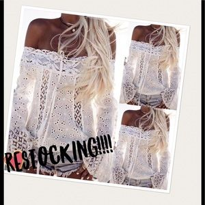 RESTOCKING-New Off The Shoulder Lace Top