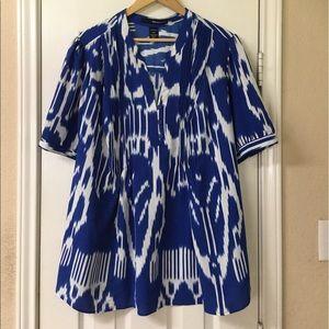 Denim 24/7 Royal Blue & White Henley Shirt