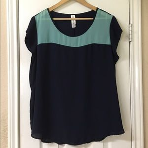 Pure Energy Navy Blue & Turquoise Top