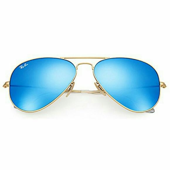fb760e9dbd7d0 Ray-Ban Aviator Sunglasses Gold Blue Flash Mirror