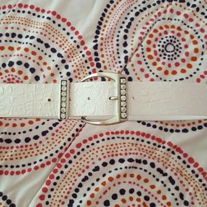 Accessories - white leather belt diamond buckle
