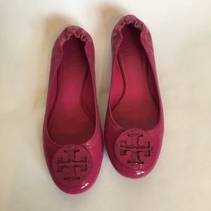 Tory Burch pink reva patent ballerina flats