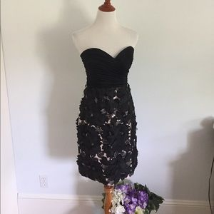 Strapless Black Dress with 3-D Floral Skirt