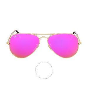 Ray Ban Pink/Purple Aviator 58mm Sunglasses