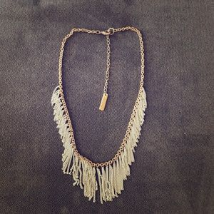 White and gold fringe necklace from Rocksbox
