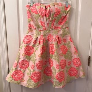 BoutiquePink and Green Rose A-Line Strapless Dress