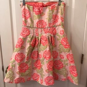 Dresses - BoutiquePink and Green Rose A-Line Strapless Dress