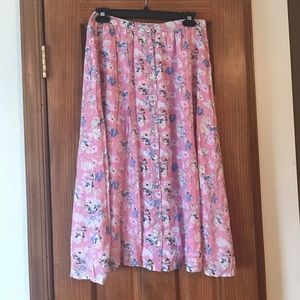 F21 Contemporary Floral Midi Skirt