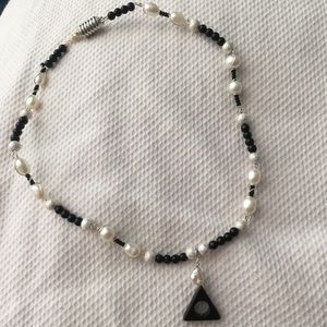 Jewelry - Onyx and Pearl Deathly Hallows Necklace