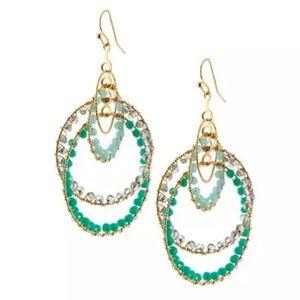 Jewelry - NIB- Layered Crystal Beaded Circle Drop Earrings