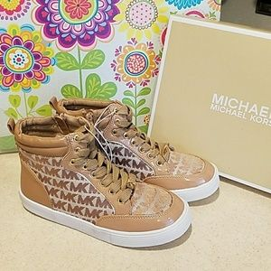 Michael Kors Logo HiTop Sneakers girls sz 2 NEW