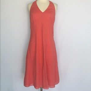 Ann Taylor coral embroidered halter dress