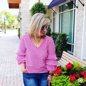 Zara Tops - Zara pink gingham ruffle sleeve top