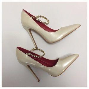 Shoe Republic LA Ivory Pumps with Jeweled Strap