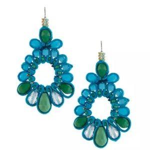 Jewelry - NIB -Crystal & Silk Blue & Green Drop Earrings