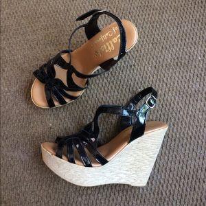 Callisto Shoes - Callisto Black Strappy Sandal Wedges