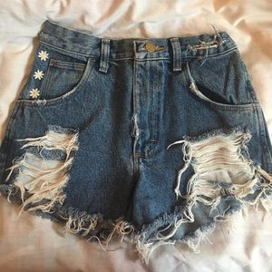 Pants - Distressed denim shorts