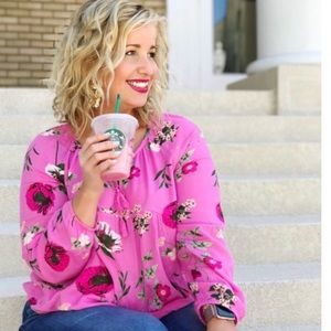 Old Navy Tops - Pink floral baby doll top with tassels