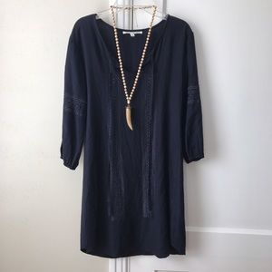 solitaire Dresses & Skirts - Solitaire | Navy Embroidered Boho Dress