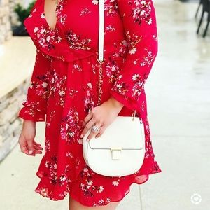 H&M Dresses & Skirts - Red floral wrap dress