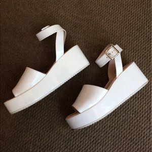 Zara Shoes - Zara White Platform Sandals