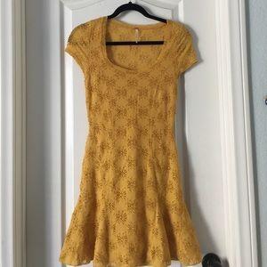 Free People mini yellow embroidered mermaid dress