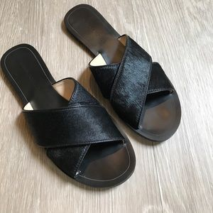 Banana Republic Shoes - Banana Republic Celina Calf Hair Black Sandals sz8