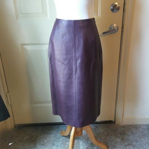 0d1879a721 Prada Skirts | 100 Leather Plum Pencil Skirt | Poshmark