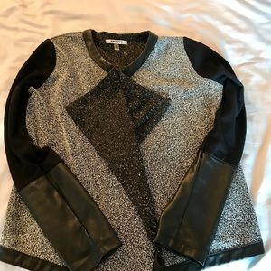 DKNYC Jackets & Blazers - DKNY sweater jacket with faux leather sleeves