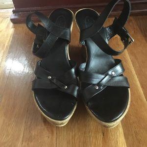Callisto Shoes - Black Wedges