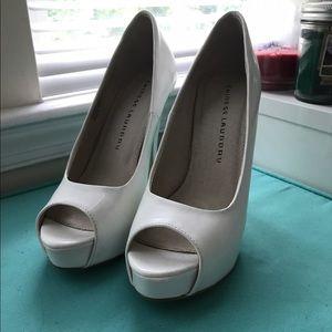 Chinese Laundry White Peep-Toe Heels