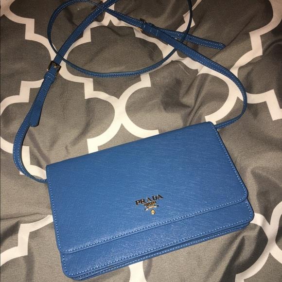c7212f940256f8 Prada Saffiano wallet crossbody: Blue + Gold. M_5946dbf9ea3f36cb3d0be45f