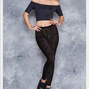 Blackmilk Pants - 💥FLASH SALE Blackmilk burned velvet black legging