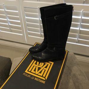 Pour La Victoire Shoes - Pour La Victoire Black Leather Riding Boot