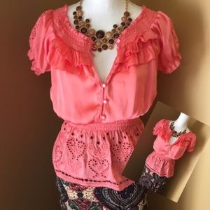 Do & Be Tops - Just peachy coral loose top