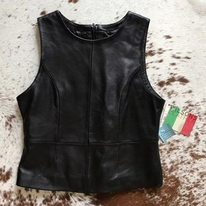 Wilsons Leather Tops - NWT Wilsons leather black cropped top M